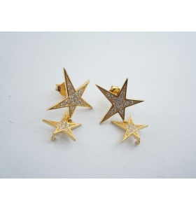 1 paio basi orecchino doppia stella zirconi perno in argento 925 placcato oro