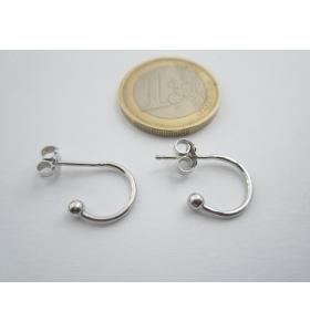 1 paio di orecchini perno semi tondo in argento 925 rodiato misure 18x12 mm