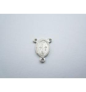 medaglietta madonnina 3 fori per fare i rosari in argento 925 rodiata m.14x11 mm
