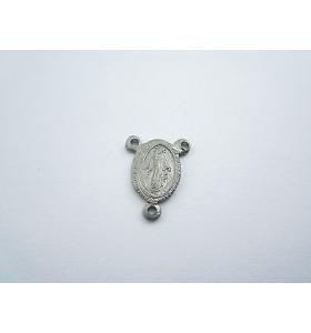 medaglietta madonnina 3 fori per fare i rosari in argento 925 brunito m.14x11 mm