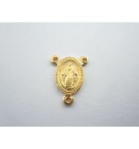 medaglietta madonnina 3 fori per i rosari in argento 925 placcato oro gi14x11 mm