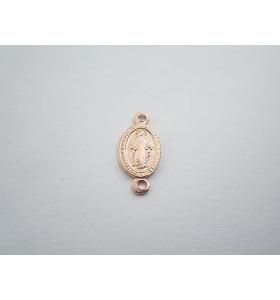 medaglietta madonnina 2 fori per i rosari in argento 925 placcato oro r16,5x8 mm