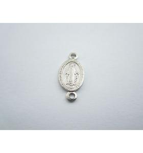 medaglietta madonnina 2 fori per i rosari in argento 925 rodiato mis.16,5x8 mm