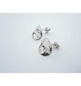 2 basi orecchini tondino 12 mm martellato e stropicciato argento 925 rodiato
