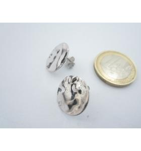 2 basi orecchini tondino 16 mm martellato e stropicciato argento 925 rodiato