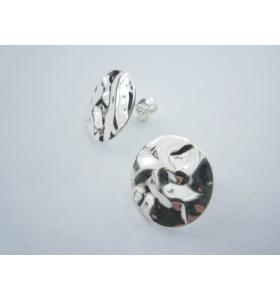 2 basi orecchini tondino 16 mm martellato e stropicciato argento 925 sterling