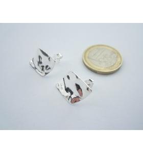 2 basi orecchini rombo 21x15 mm martellato e stropicciato argento 925 sterling