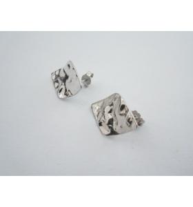 2 basi orecchini rombo 21x15 mm martellato e stropicciato argento 925 rodiato
