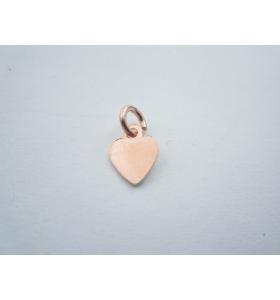 ciondolo charms cuore piccolo in argento 925 placcato oro rosso misure 9 x7 mm