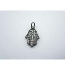 ciondolo charms mano di fatima argento 925 brunito e zirconi bianchi m 18x10 mm