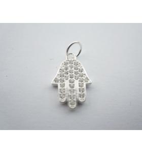 ciondolo charms mano di fatima argento 925 sterling e zirconi bianchi m18x10 mm