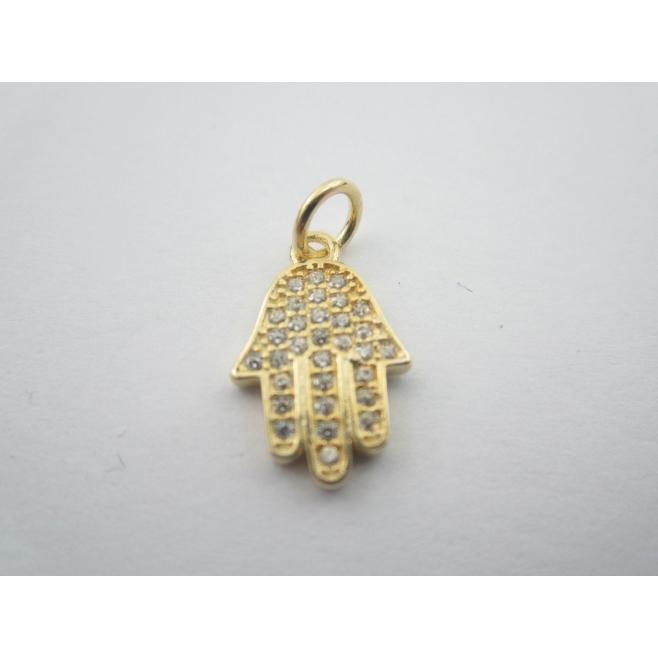 ciondolo charms mano fatima argento 925 placcato oro G zirconi bianchi 18x10 mm