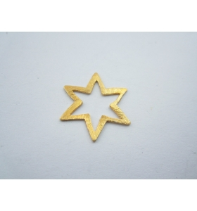 ciondolo charms stella in argento 925 placcato oro giallo graffiato di 21x20 mm