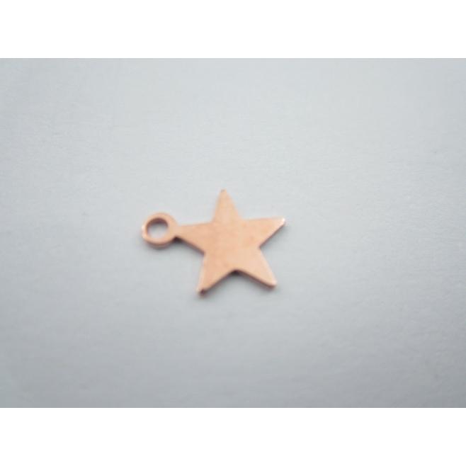 ciondolo charms stellina in argento 925 placcato oro rosso di 10x8,5 mm