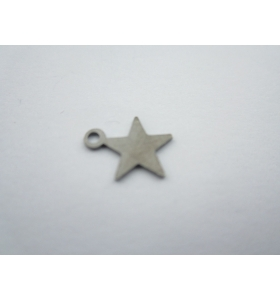 ciondolo charms stellina in argento 925 sterling brunito di 10x8,5 mm