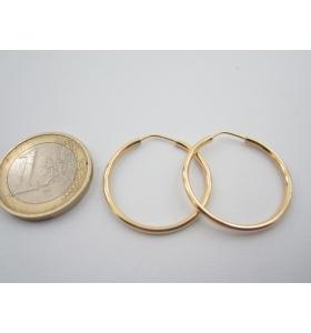 1 paio di orecchini cerchio di 25 mm in argento 925 placcato oro giallo italy
