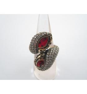 anello contrariè della tradizione artigianale turca argento 925 e ottone giada R