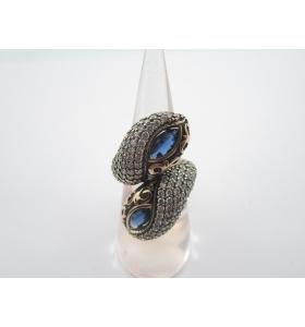 anello contrariè della tradizione artigianale turca argento 925 ottone e iolite
