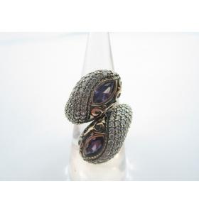 anello contrariè della tradizione artigianale turca argento 925 ottone e ametist