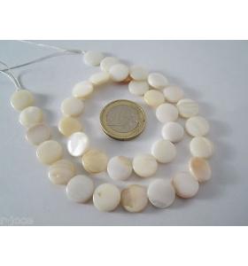1 filo di madreperla naturale tondine piatte di 15 mm lungo 38 cm 26 madreperl