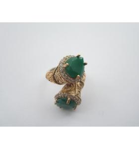anello contrariè della tradizione artigianale turca argento 925 ottone e giada