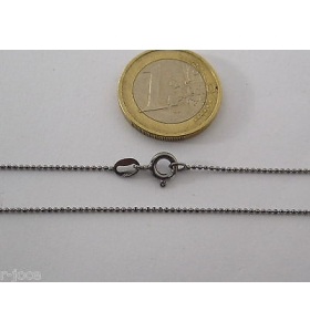 1 CATENINA IN ARGENTO 925 PLACCATO RODIO NERO PALLINI SFACC. DIAMANTATI L. 40 CM