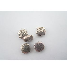 LOTTO DI 100 COMPONENTI IN RESINA COLOR ARGENTO 10X10 MM FORO PASSANTE