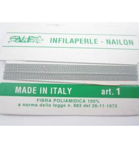 1 infila perle grigio perla con ago in rame L 180 cm n° da 1 a 9
