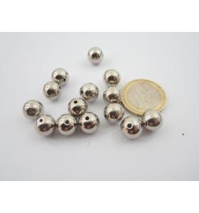 lotto di 20 sfere lisce colore argento diametro mm. 12 foro passante