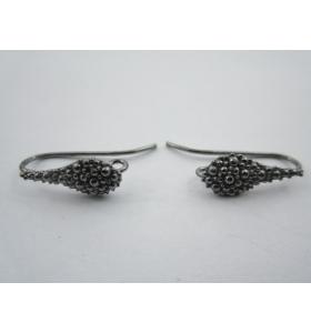 1 paio monachelle goccia puntinata in argento 925 rodiato nero
