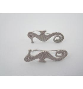 1 paio monachelle per orecchini cavalluccio marino in argento 925 rodiato