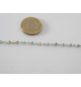10 cm di catena rosario concatenata acquamarina tono argento