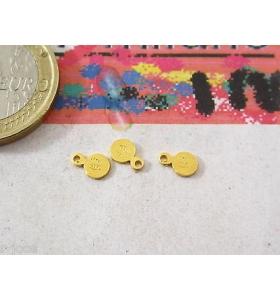 4 etichette tonde piccole argento 925 placcate oro giallo punzonate (italy 925)