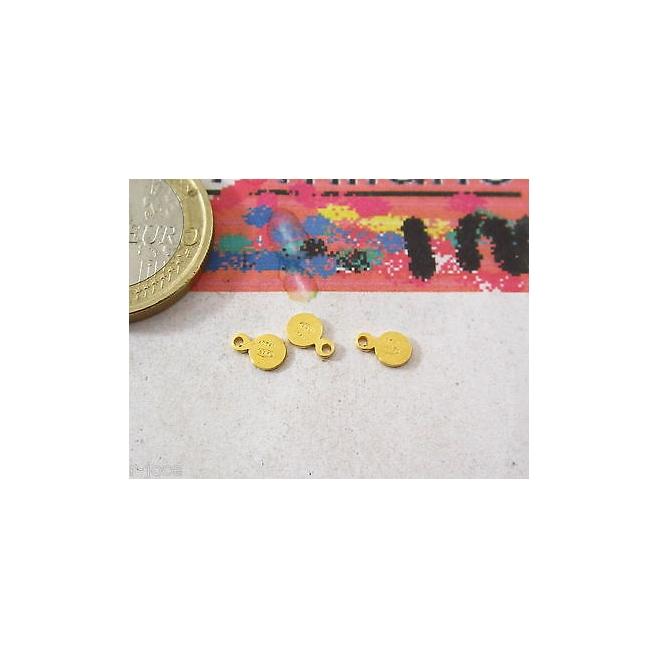 italy 925 4 etichette tonde piccole argento 925 placcate oro giallo punzonate