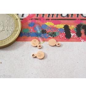 4 etichette tonde piccole argento 925 placcate oro rosè punzonate (italy 925)