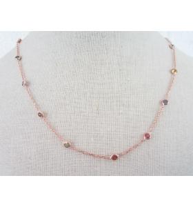 catenina girocollo collier morbido e zirconi in argento 925 placcato oro rosè