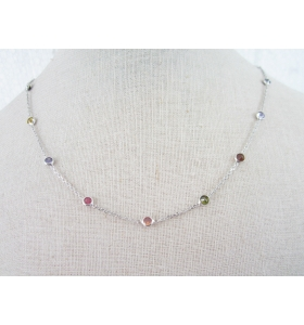 catenina girocollo collier morbido e zirconi in argento 925 rodiato