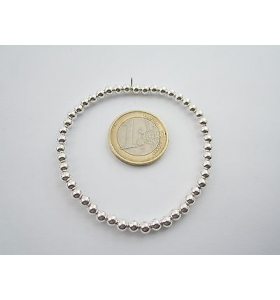 1 bracciale elastico sfere lisce di 4 mm in argento 925 made in italy