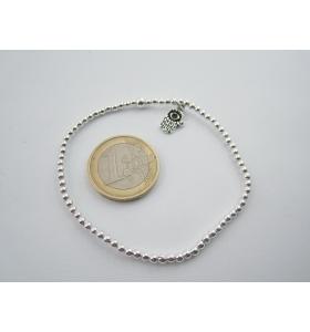 1 bracciale elastico sfere lisce 2,5 mm in argento 925 + ciondolo mano di Fatima