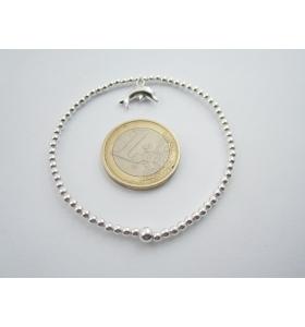 1 bracciale elastico sfere lisce 2,5 mm in argento 925 + ciondolo delfino