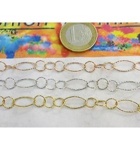 10 cm di catena ovaline e tondine fini in argento 925 3 colori a scelta italys