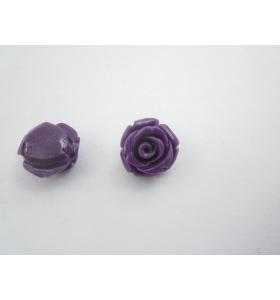 2 roselline in composto cristallizzato di 11x9 mm colore viola