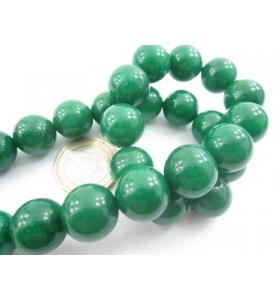 1 filo in radice di smeraldo cabochon di 14 mm lungo 40 cm contiene 28 pietre