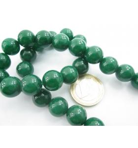 1 filo in radice di smeraldo cabochon di 12 mm lungo 39 cm contiene 33 pietre