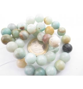 1 FILO DI PIETRE AMAZONITE COLOR MIX CABOCHON D. 1OMM.