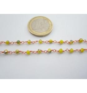 1 metro catenina rosario color rosè concatenata cristalli giallo verde 3,5 mm