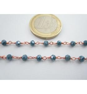 1 metro catenina rosario color rosè concatenata cristalli blu petrolio 3,5 mm