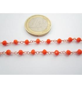 '1 metro catenina rosario color rosè concatenata cristalli arancione 3,5 mm