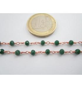 '1 metro catenina rosario color rosè concatenata cristalli verde 3,5 mm