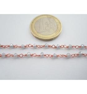 '1 metro catenina rosario color rosè concatenata grigio perla 3,5 mm